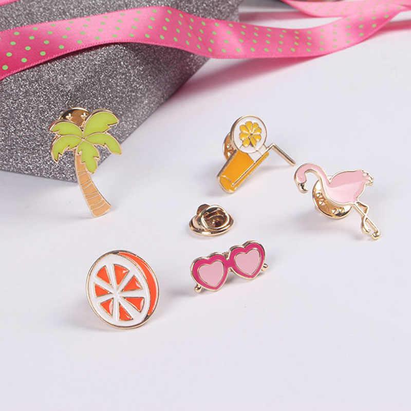 Hot Cool Flamingos มะพร้าวต้นไม้ orange juice แว่นตาเข็มกลัดผู้หญิง Pin เด็กกระเป๋า Badge