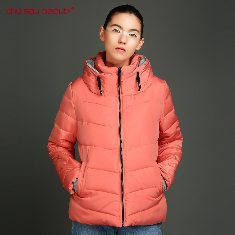 CHUSAUBEAUTY 2017 new Winter Women Coat Pure Color Thick Cotton Jacket High Quality Large Size winter clothing for women's coat 2017 new korean winter women coat elegant pure color thick warm hooded cotton jacket high quality large size women coat parkas