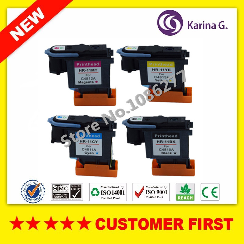 1set /4PCS Remanufactured 11 print head C4810A C4811A C4812A C4813A for HP11 printhead For Hp Designjet 500 510 800 printer changeover switch lw5 16y43 3 16a 500v universal changeover combination switch 4 position 3 knots lw5