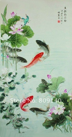 Stretched Realist Oil Painting Canvas Ready To Hang Fish Lotus