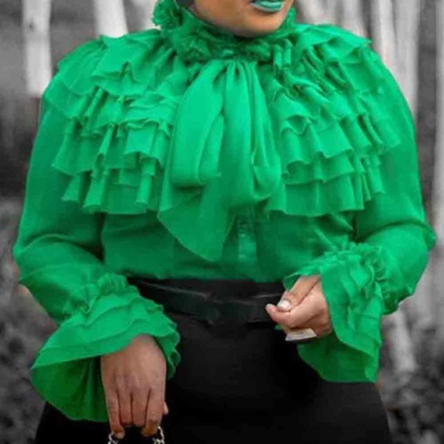 Falbala Plain Standard Long Sleeve Blouse 2019 Green Ruffles Sleeve Summer Elegant Women Tops Blouse Shirts Office Lady Female