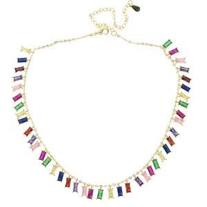 Image 5 - 2019 wysokiej jakości rainbow bagietka cz kolorowe geometryczne wiszące choker naszyjnik kolorowe rainbow Gold filled kobiety moda prezent