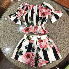 2pcs Toddler Kids Girls clothes set Stripe Floral Tunic Tops +Shorts Outfits Set Clothes 1-6y(China)