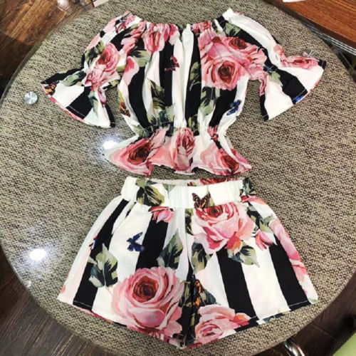 2pcs Toddler Kids Girls clothes set Stripe Floral Tunic Tops +Shorts Outfits Set Clothes 1-6y