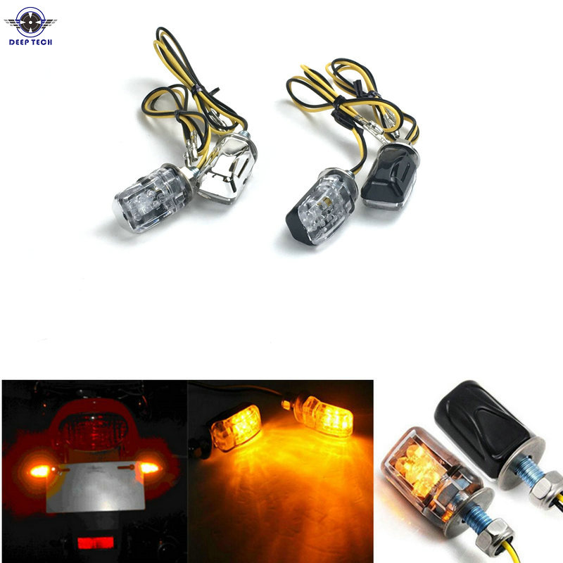 4x 6 LED 12V Motorcycle Mini Dirt Bike Turn Signal Blinker Indicator Light Black