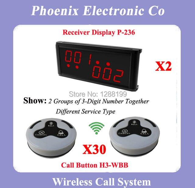 315 MHZ Coaster Pager Pager para Restaurantes Con 30 Campanas de Mesa P-236 H3-WBB 2 Pantalla Inalámbrica DHL Envío Libre