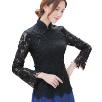Sexy Fashion Lace Long Sleeve Ladies Solid Black Shirt Chinese Novelty Style Women S Mandarin Collar