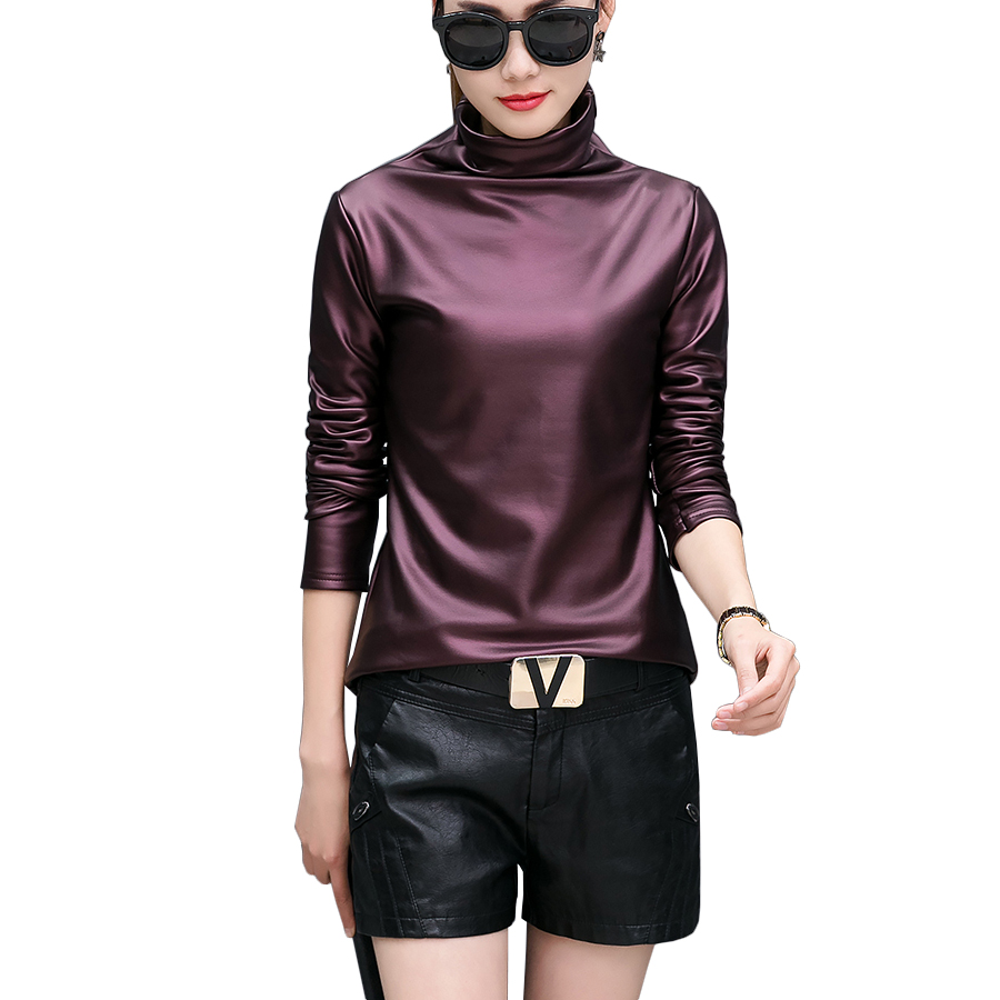 Plus size 3XL punk turtleneck t shirt comfortable PU leather t shirt women long sleeve velvet
