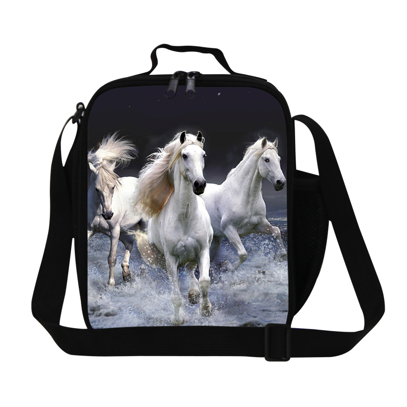 White Horse lunch Cooler bags for Boys,Dog Print Kids lunch bag,Stylish Insulated Lunch Box Container for Children,Cute Meal Bag