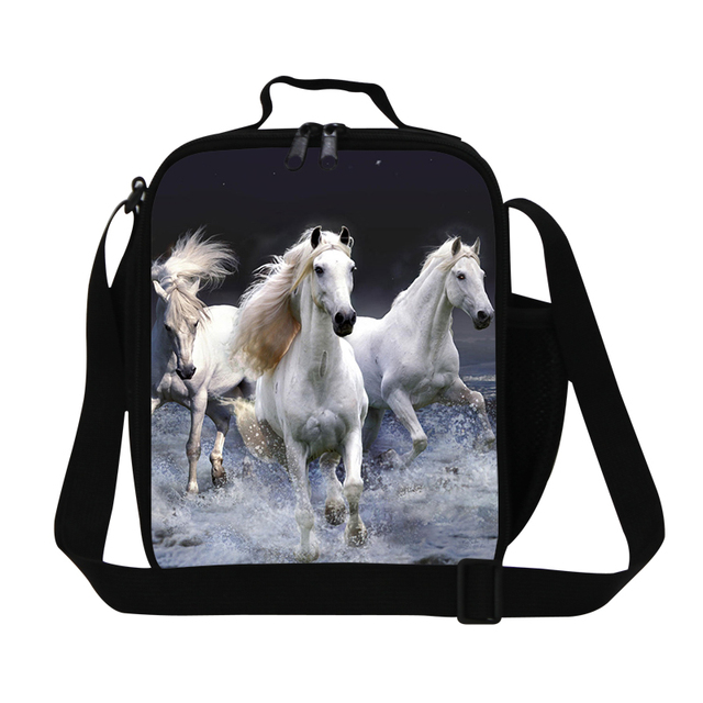 White Horse Lunch Cooler Bags For Boys Dog Print Kids Bag Stylish Insulated