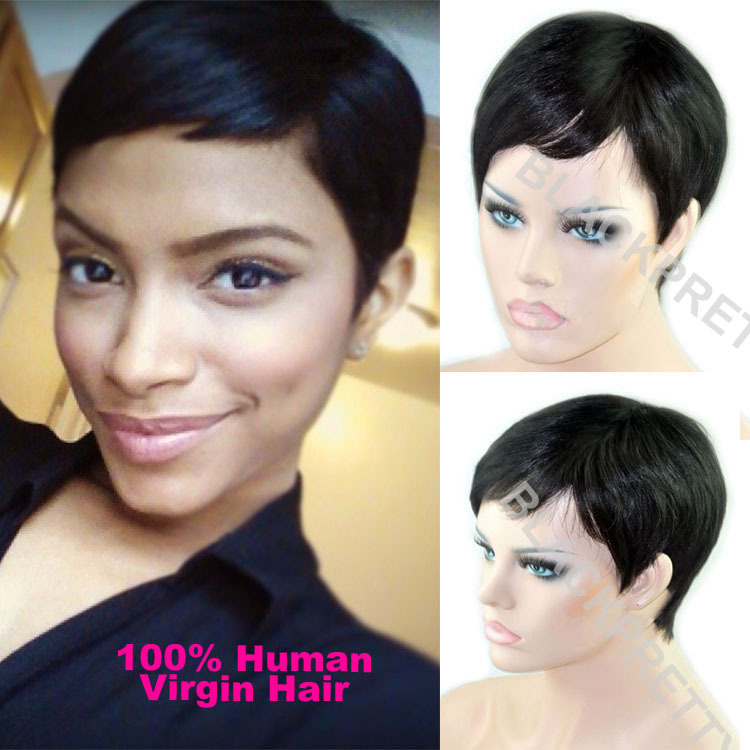 Celebrity Cheap Pixie Cut Human Brazilian Hair Very Short Wig Natural Black  Human None Lace Guleless Wig For Black Women Wigs f9ff87c6a