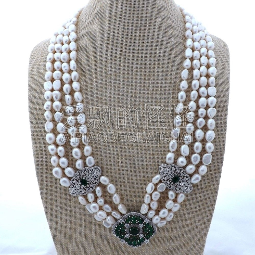 N112204 25-29 4Strands White Baroque Pearl NecklaceN112204 25-29 4Strands White Baroque Pearl Necklace