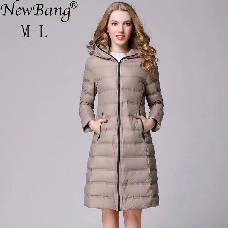 NewBang Women s Hooded Down Coat Female Long Down Coat Winter Slim Warm Lightweight Duck Jackets