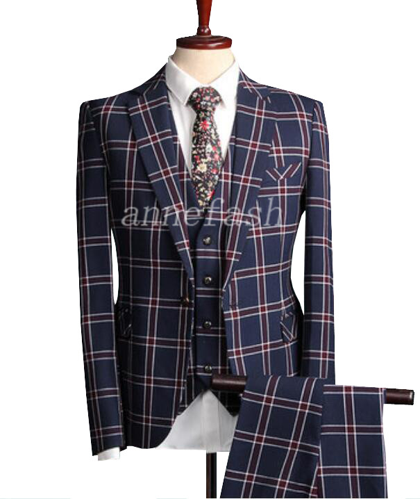 2017 nouveaux hommes costume décontracté sur mesure hommes bleu motif à carreaux classique hommes Slim Fit plaid costume de mariage 3 pièces-in Costumes from Vêtements homme on AliExpress - 11.11_Double 11_Singles' Day 1