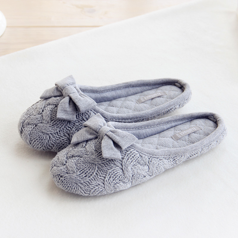 Knitted Bowtie Winter Women Home Slippers For Indoor Bedroom House Soft Bottom Cotton Warm Shoes Adult