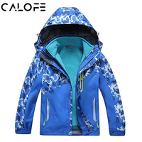 CALOFE Children Oversized Snow Coat Camouflage Patchwork Waterproof Thermal Fleece Winter Girl Hooded Sport Ski Jackets