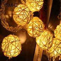 YSMHZ LED Battery String Lights 2 5M White Handmade Rattan Balls String Lights Fairy Party Wedding