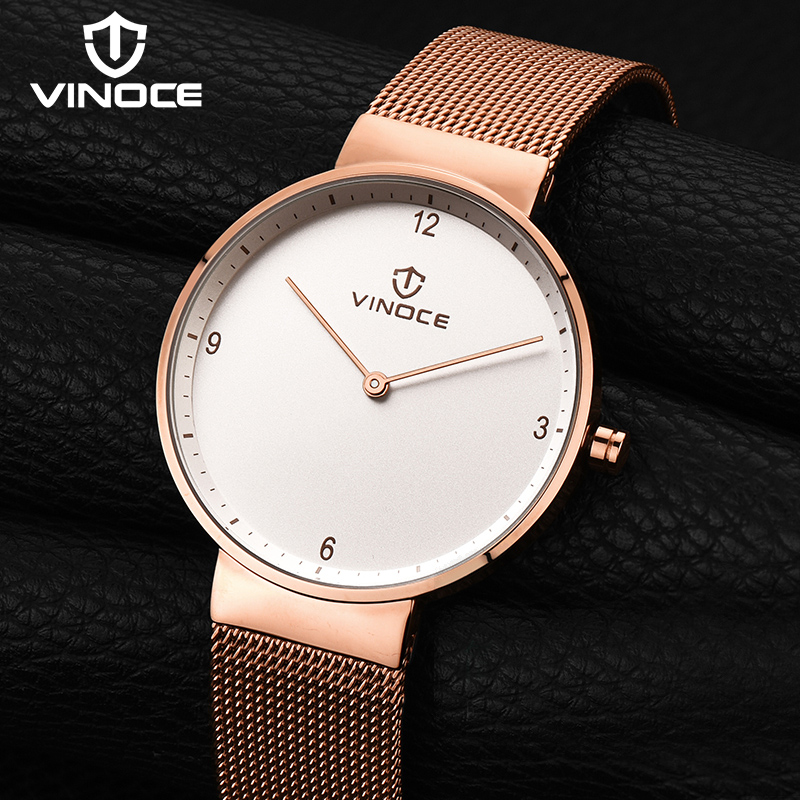 VINOCE Luxury Mens Watches Stainless Steel Mesh Band Quartz Watch Men Wristwatches Waterproof Relogio Masculino 2018 #V60018 onlyou brand luxury fashion watches women men quartz watch high quality stainless steel wristwatches ladies dress watch 8892