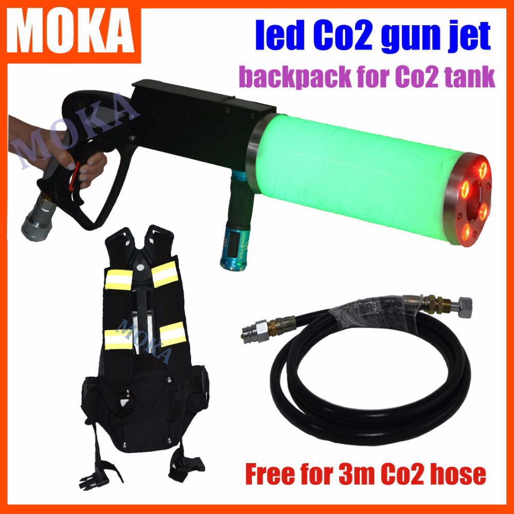 Special Price DJ Equipment Co2 Machine Gun Air Gun Co2 Gas Guns With Co2 Tank backpack Free 3Meters Co2 Gun hose For party цена