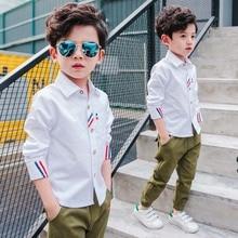 New Arrivals Fashion Boys Shirts With Short Striped Kaqukaqi Brand Preppy Style Kids Spring Cotton Shirts For Boys Formal Shirts