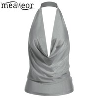 Meaneor Halter Pleated Solid Backless Sexy Tops Women Deep V Neck Sleeveless Top Clothes Casual Summer