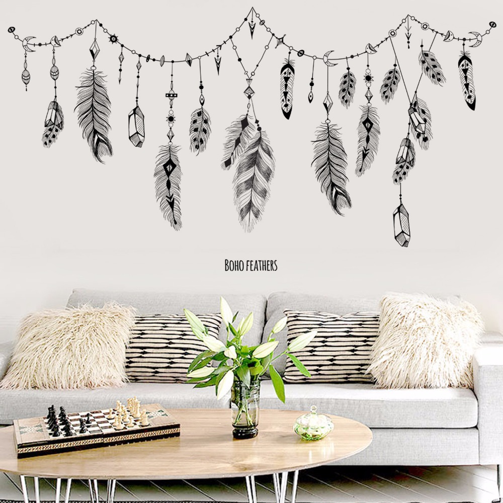 US $4.95 38% OFF|black boho feathers wall stickers for bedroom living room  bathroom bar kitchen wall decor removable art decals mural diy dc8-in Wall  ...