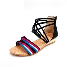 Ethnic Bohemian Summer Women Straps Sandals Women Gladiator Roman Fashion Multicolor Non Slip Beach Sandal Shoes Open Toe Sandal