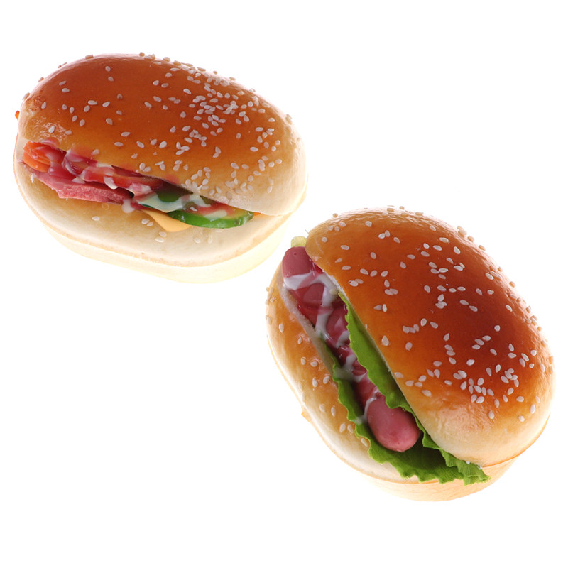 High Quality Hamburger Cake Squeeze Kawaii Hot Dog Squishy Slow Rising Stretchy Charm Cute Bread Strap Kid Toy Gift