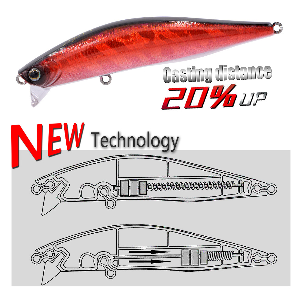New arrival artificial bait hard minnow lure 90mm 12.5g shoal & top water surface lure long casting bait slight lure swimbait