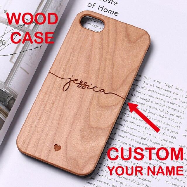 ba3f827cfc4 Funda de teléfono de madera dura personalizada con nombre de texto con  iniciales para iPhone 6 6 S XS Max 7 7 Plus 8 ...