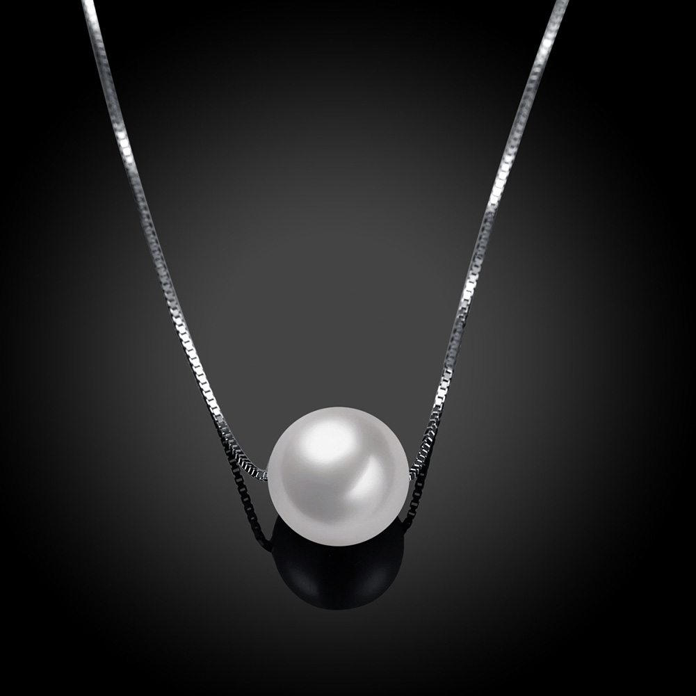 Ann & Snow Simple Ladies Jewelry 925 Sterling Silver Necklace White Shell Pearl Pendant Necklaces Fashion Gift Accessories 1