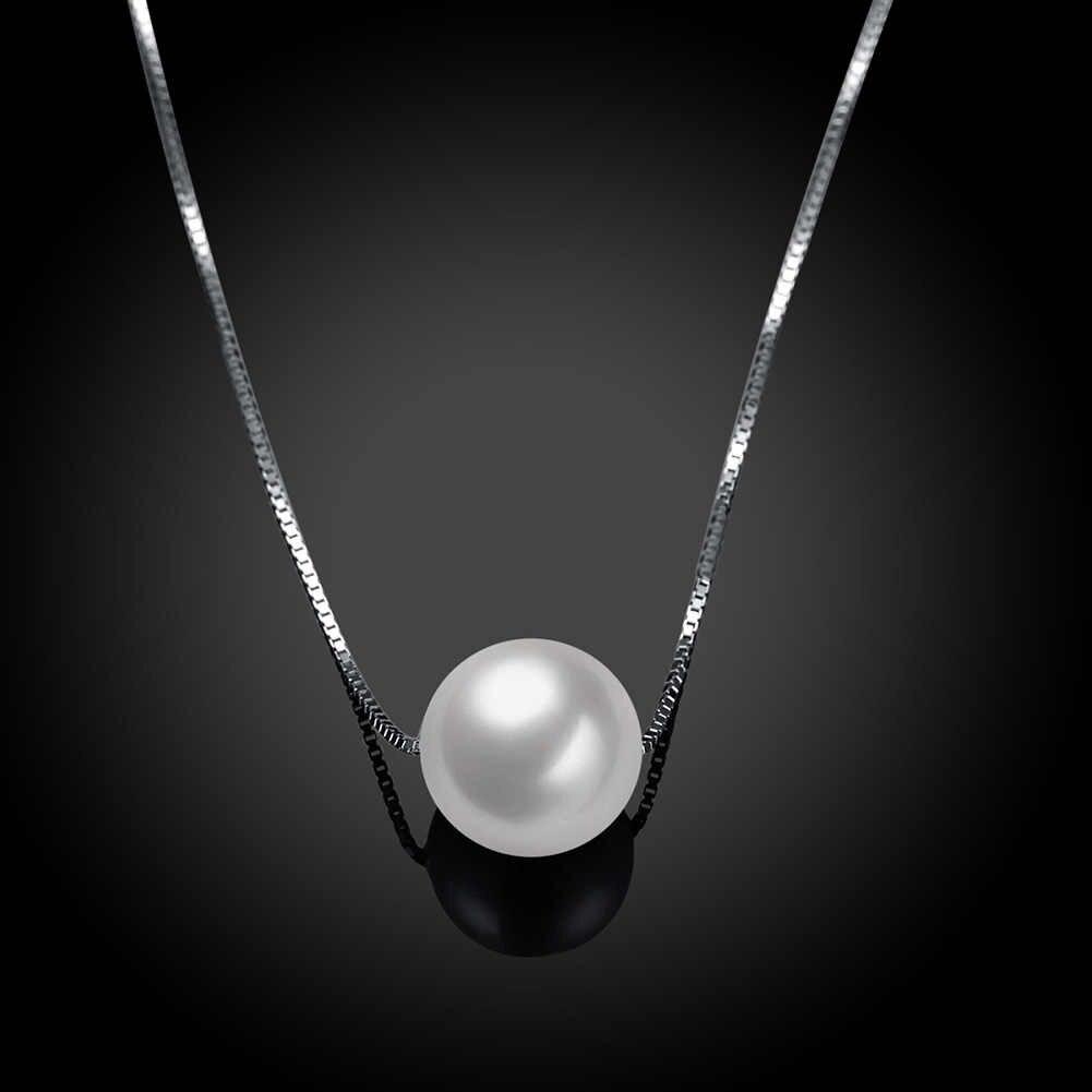 آن و الثلوج بسيطة السيدات والمجوهرات 925 الاسترليني قلادة فضية الأبيض قذيفة اللؤلؤ قلادة القلائد الأزياء الاكسسوارات هدية