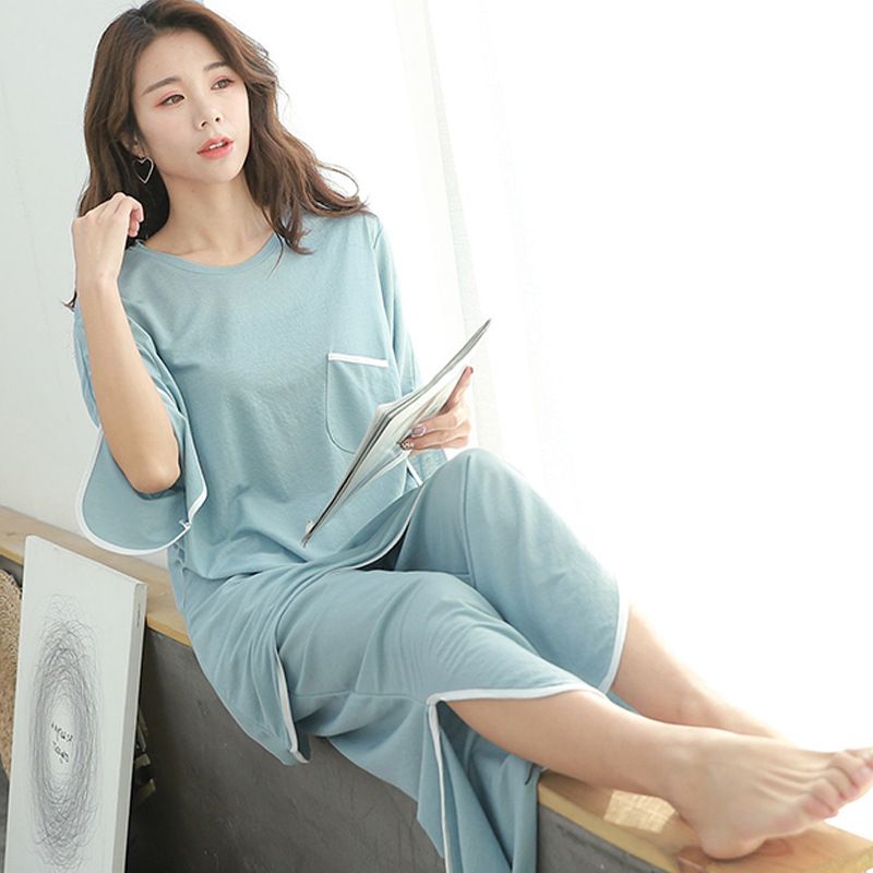 Two Piece Set Women Spring Home Wear Suits Casual Modal 2 Piece Set Women 2019 Loose Flare T Shirt+wide Leg Pants Sleepwear