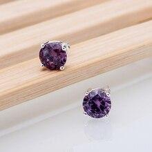 Фиолетовый кристалл камень посеребренная серьги - серебристо-ювелирные для женщин серебряные серьги RQPNKQRO(China (Mainland))