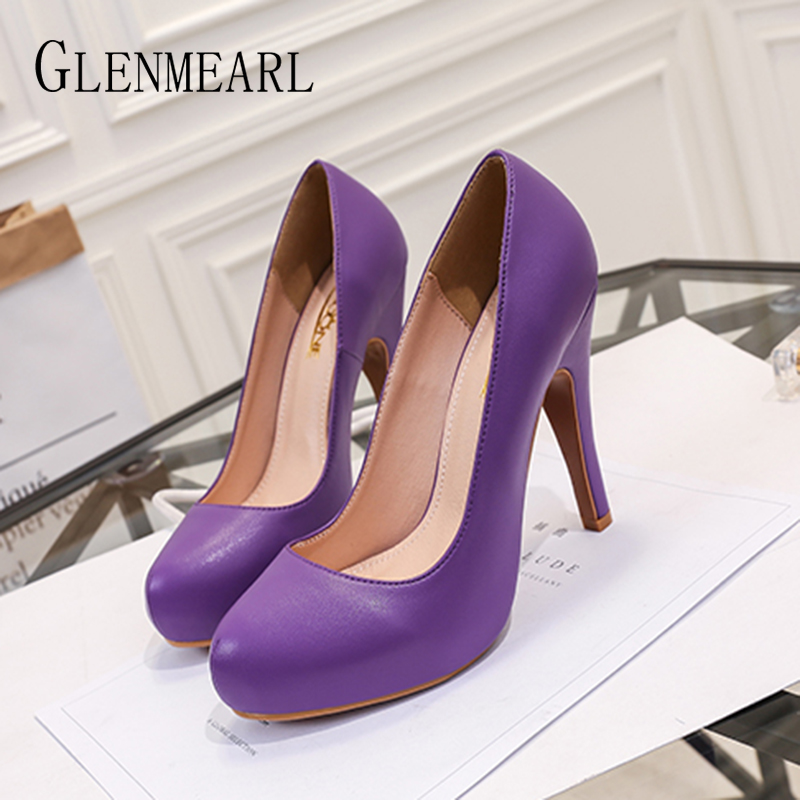 Women Pumps Ladies Casual Shoes Woman High Heels Platform Sexy Female Shoes Fashion Slip On Round Toe Party Shoes Plus Size DE