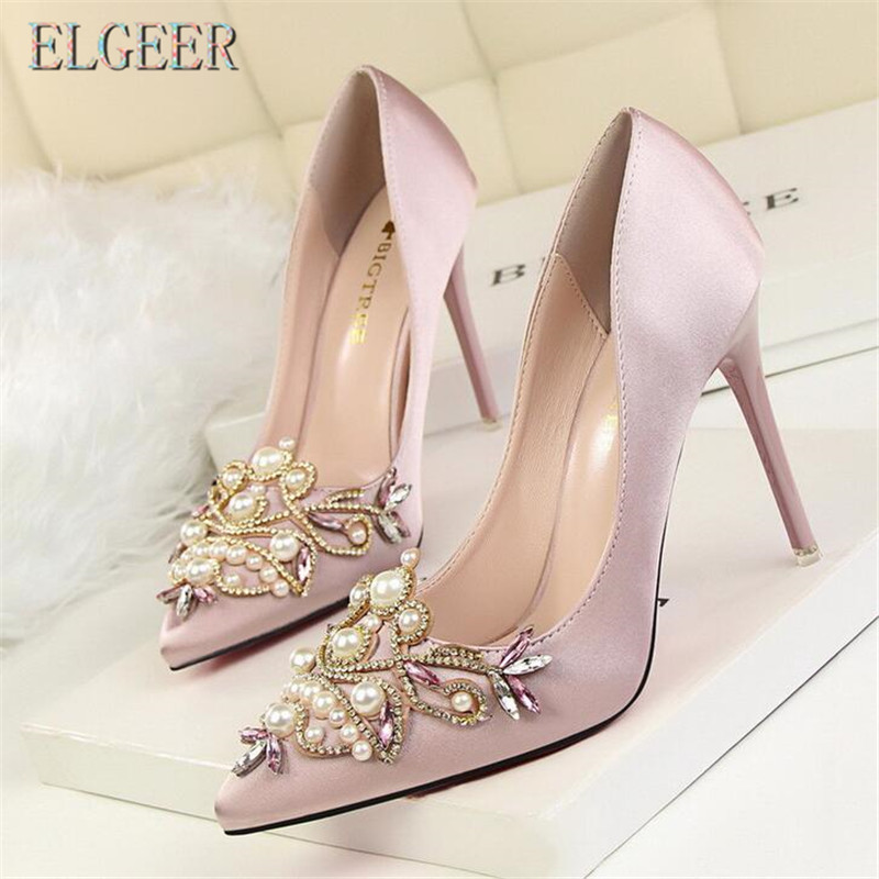 2018 new retro sexy elegant banquet shoes high-heel shallow mouth pointed satin pearl rhinestone high heels 10