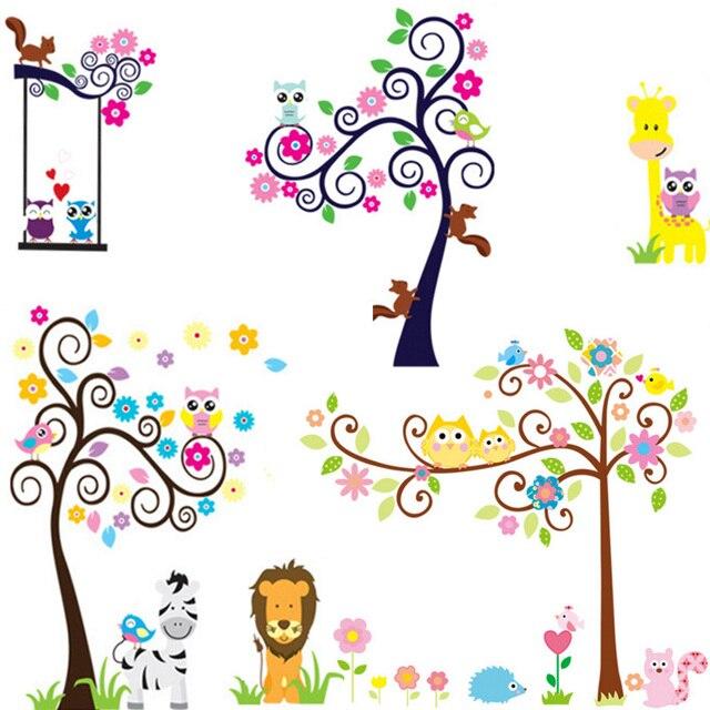 Gran Tamaño De Dibujos Animados Búhos Del árbol Diy Wall Sticker
