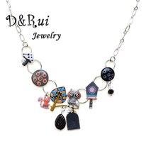 Funny Animal Owl Necklace Women Chain Necklaces Pendants Enamel Leaf Mushroom Bird Choker Accessories Christmas Kids Jewelry цена