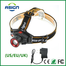 Built-in Lithium Battery Rechargeable LED Headlight Cree Q5 Waterproof High Brightness 3 Modes Zoomable Torch Headlamp + Charger