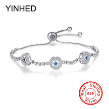 YINHED New Fashion Adjustable Chain Bracelets for Women Original 925 Sterling Silver Crystal CZ Bracelet DIY Jewelry ZB018(China)