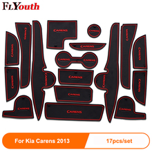 17Pcs Non-Slip Interior Door Pad Cup Mat Gate Slot Case For Kia Carens 2013 Auto Accessories Car Styling