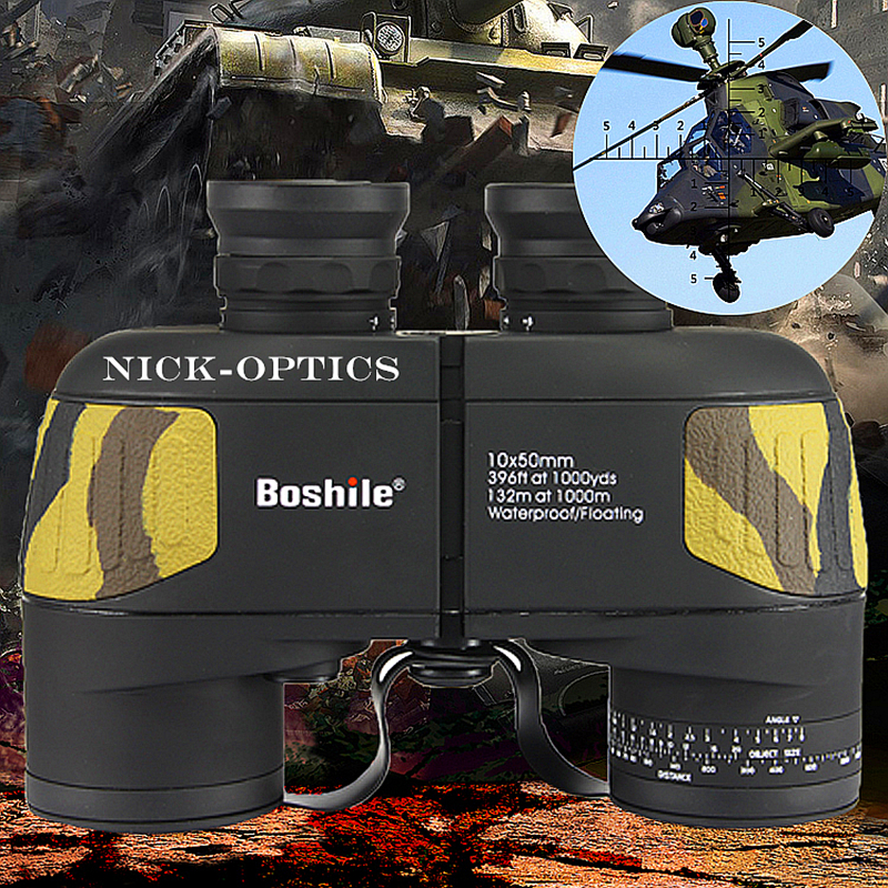 Boshile binoculars 10x50 Zoom Telescope with Built in font b Rangefinder b font military Binocular HD