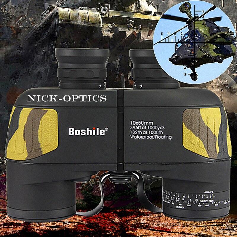 Boshile jumelles 10x50 Zoom Télescope avec Haut-Télémètre militaire Binoculaire HD Haute fois Étanche pour la chasse