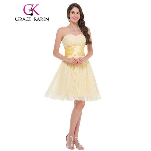 Grace Karin Sweetheart Empire Chiffon Cheap Short Yellow Prom ...