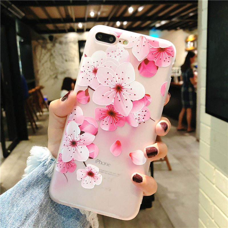 KIP7P1152A_1_Flowers Pattern Soft TPU Case for iPhone 7 Plus