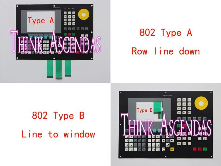 1pcs 802 802SE 6FC5501-0AB00-0AA0 6FC5 501-0AB00-0AA0 / 802S 6FC5500-0AA00-1AA0 6FC5 500-0AA00-1AA0 Membrane Keypad TypeA TypeB 802