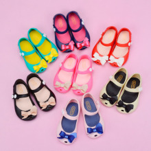 hot 2018 summer Mini Melissa Bow children Jelly Shoes Sandals Girls ballet Shoes kids soft Sandals 13-17cm