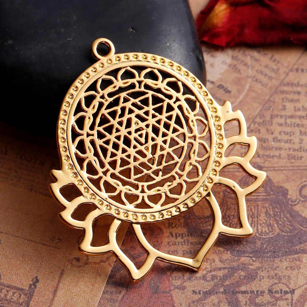 DoreenBeads 銅シルバー色ゴールドスリランカ Yantra 瞑想ペンダント蓮中空花 Diy のジュエリーコンポーネント 40 × 35 ミリメートル、 1 PC