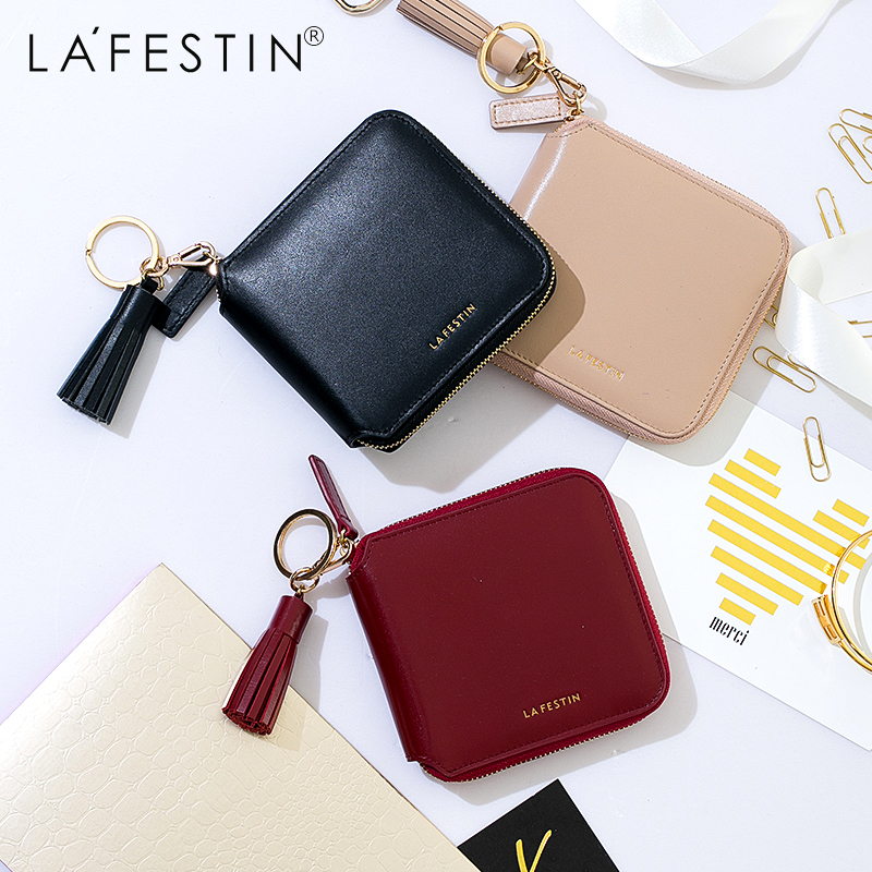 LA FESTIN High Quality 100% Genuine Leather Women Mini Wallet Leather Coin Purse Coin Credit Card Holder Zipper Women Wallet new lady women leather wallet zipper mini purse credit card holder bags simple style handbag party as gift high quality 52