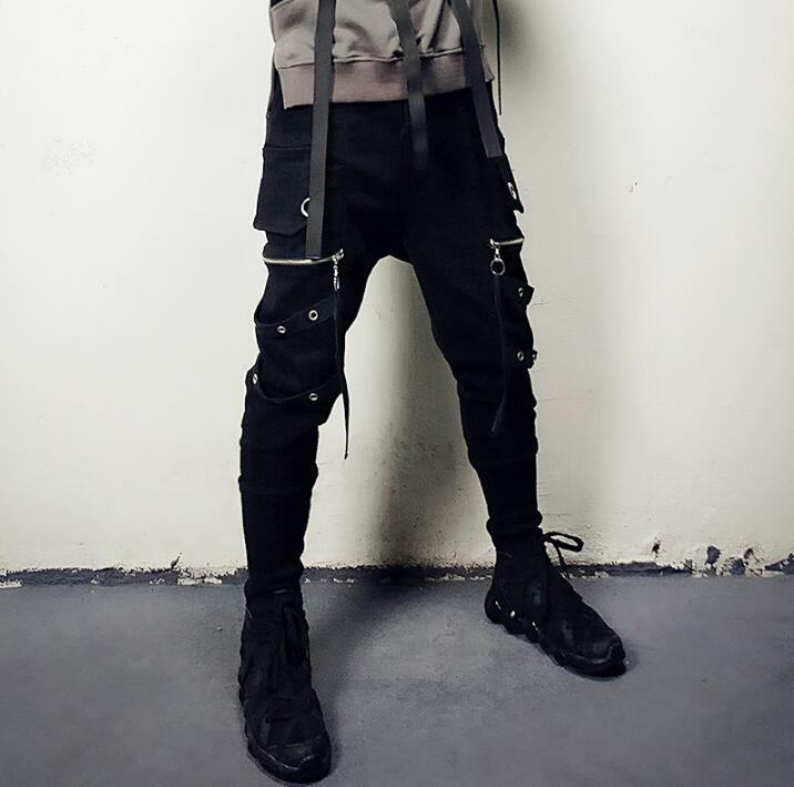 Hombre Pantalones Casual Personalidad Calle Negro Invierno Homme Para Harem Pantalon Hombres Moda Otoño IYRYnx